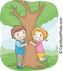 bambini, albero abbraccia