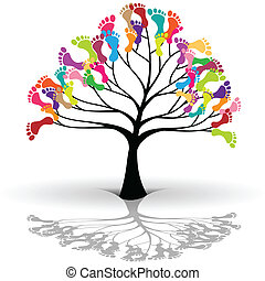 bambini, albero