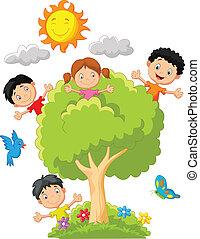 bambini, albero, gioco