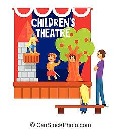 bambini, amatore, alunni, teatro, osservare, scena,...