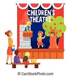 bambini, amatore, alunni, teatro, osservare, scena, romeo,...