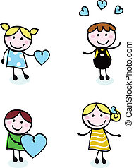 bambini, amore, punto, icone, scarabocchiare, isolato, retro, bianco