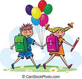 bambini, andare, a, scuola