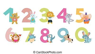bambini, animali, illustrazione, vettore, numeri, cartone animato