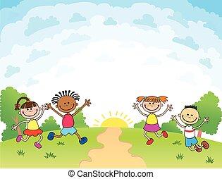 bambini, ara, saltare, su, il, radura, bunner, cartone animato, divertente, vettore, sagoma, pubblicità, brochure., pronto, per, tuo, message., vuoto, sagoma, character., illustrazione