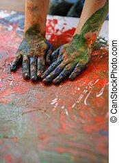 bambini, artista, mani, pittura, colorito