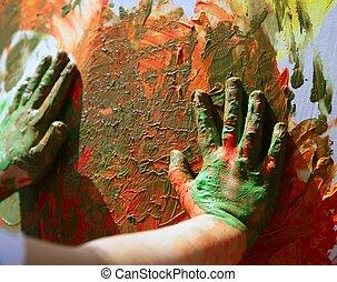bambini, artista, mani, pittura, multi, colori