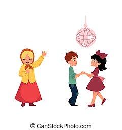 bambini, ballo, discoteca, canto, cartone animato, festa