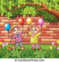 bambini, balloon, musulmano, albero, presa a terra, sotto, cartone animato, felice