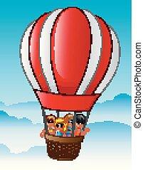 bambini, balloon, volare, aria, caldo, felice