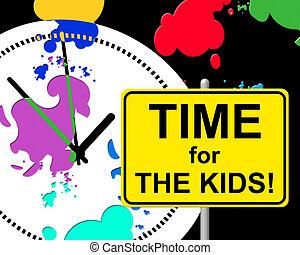 bambini, bambino, indica, destra, tempo, ora