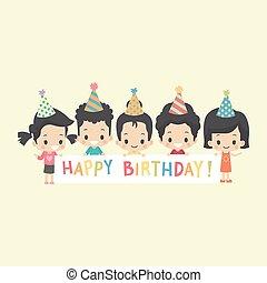 bambini, bandiera, asiatico, compleanno, felice