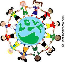bambini, bandiera, camicie, amore, globo