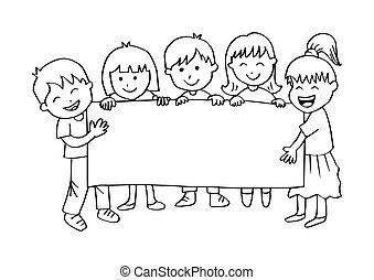 bambini, bandiera, cartone animato, presa a terra, felice