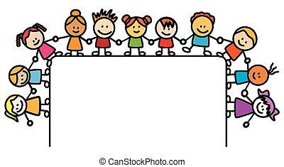 bambini, bandiera, tenendo mano