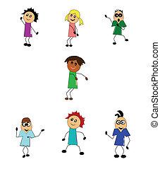bambini, bastone, ballo