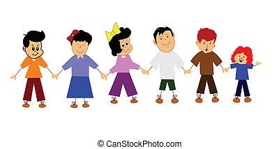 bambini, bastone, felice