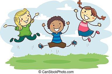 bambini, bastone, insieme, saltare