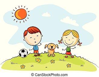 bambini, calcio, parco, cane, gioco
