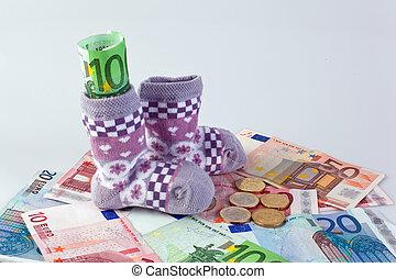 bambini, calzini, e, euro, effetti