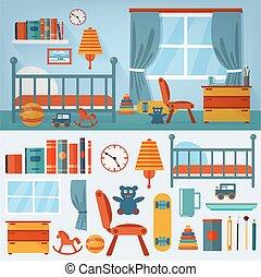 bambini, camera letto, interno, con, mobilia, e, set, di, giocattoli