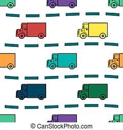 bambini, camion, modello, seamless, retro, fondo