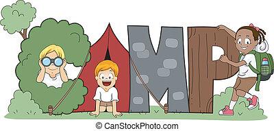 bambini, campeggiare