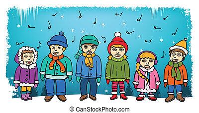 bambini, canto, carols