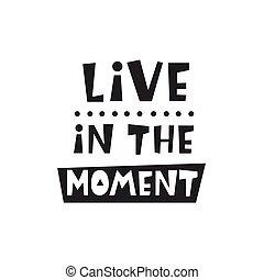 bambini, card., manifesto, vivere, momento, inspirational