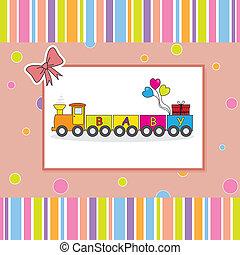 bambini, cartolina, treno