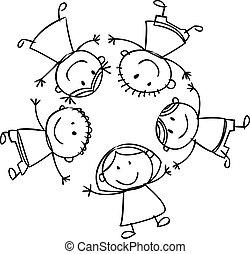 bambini, cartone animato, felice