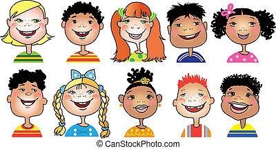 bambini, cartone animato