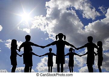 bambini, cerchio, su, reale, soleggiato, cielo