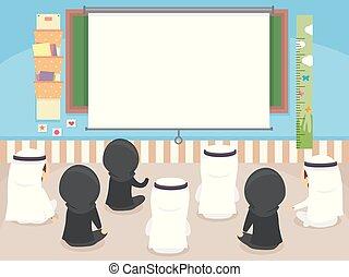 bambini, classe, illustrazione, stickman, proiettore