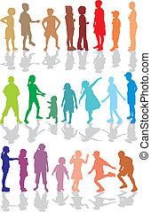 bambini, colorare, silhouette