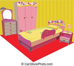 bambini, colorito, stanza, vettore
