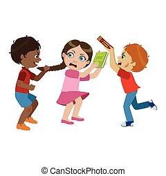 bambini, comportamento, rude, essendo, serie, bullies, offensivo, due, bullying, ragazzi, cattivo, vettore, caratteri, illustrazioni, parte, ragazza
