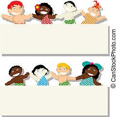 bambini, con, bandiera