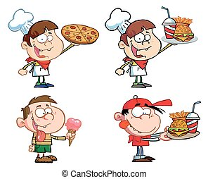 bambini, con, fast food