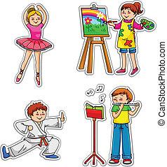 bambini, con, hobby