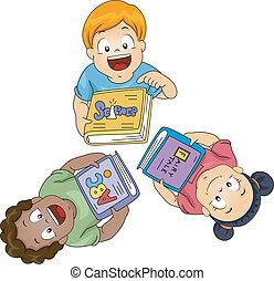 bambini, con, libri, guardare salita