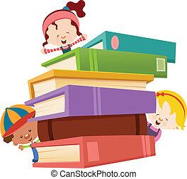 bambini, con, libri