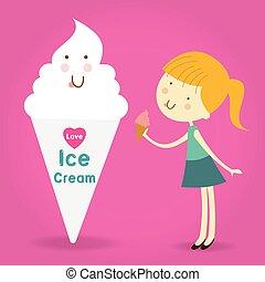 bambini, coni, illustrazione, portante, ghiaccio, felice, eccitato, pieno, crema