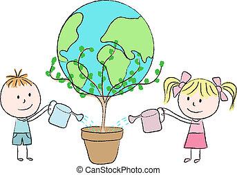 bambini, crescente, uno, pianeta