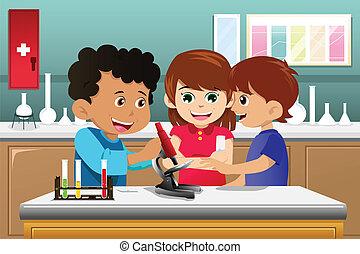 bambini, cultura, scienza, in, uno, laboratorio