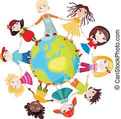 bambini, di, mondo