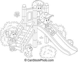 bambini, diapositiva, in, uno, parco