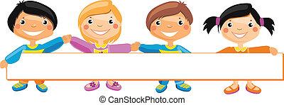 bambini, dietro, cartellone, standing