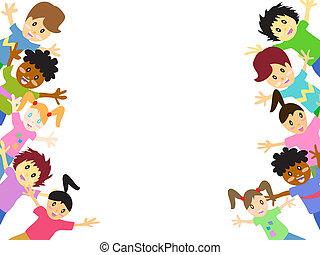 bambini, dietro, con, spazio copia