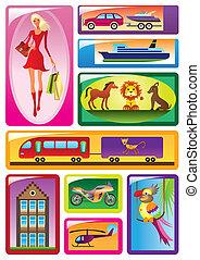 bambini, differente, scatole, giocattoli
